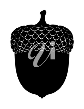 oak acorns black outline silhouette vector illustration isolated on white background