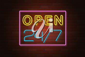 glowing neon signboard open vector illustration on brick wall background