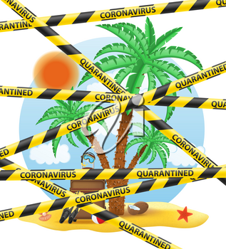 striped protective tape prohibiting tourist trips abroad on vacation due to the coronavirus covid-19 epidemic vector illustration isolated on white background