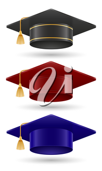 university college and academy graduate hat vector illustration isolated on white background