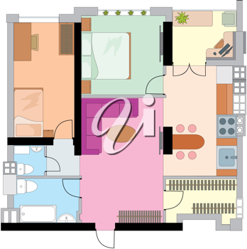 Royalty Free Clipart Image of a Floor Plan