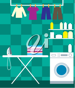Royalty Free Clipart Image of a Laundry Room