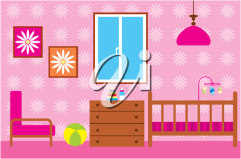 Royalty Free Clipart Image of a Baby Girl's Room