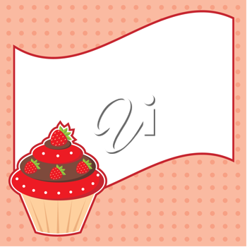 Royalty Free Clipart Image of a Cupcake With Message Cloud