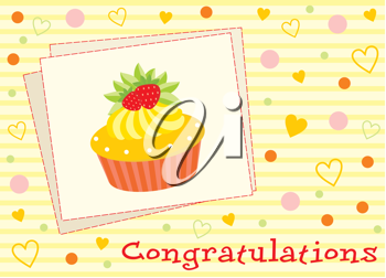 Royalty Free Clipart Image of a Card With a Cupcake