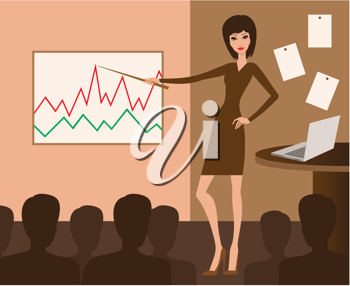 Royalty Free Clipart Image of a Woman in a Business Meeting