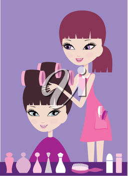 Royalty Free Clipart Image of a Woman Getting Her Hair in Rollers