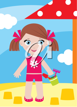 Royalty Free Clipart Image of a Girl at the Beach