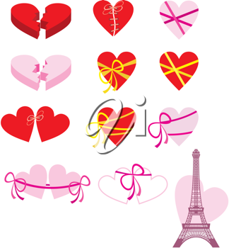 Royalty Free Clipart Image of Hearts and the Eiffel Tower