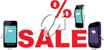 Royalty Free Clipart Image of a Sale for Cellphones