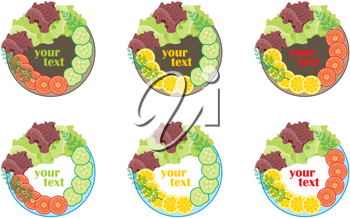 Royalty Free Clipart Image of Vegetable Plates