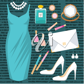 Royalty Free Clipart Image of a Fashion Set on a Green Background