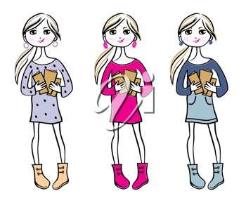 Royalty Free Clipart Image of Girls With Books