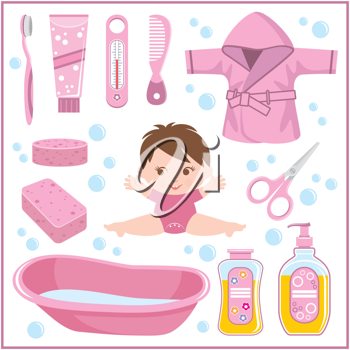 Royalty Free Clipart Image of a Baby and Bath Items