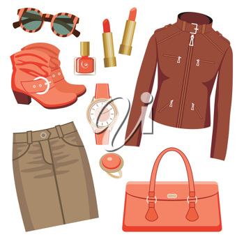 Royalty Free Clipart Image of a Woman's Fashion Set With Accessories