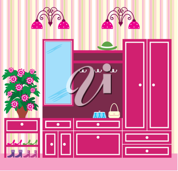 Royalty Free Clipart Image of a Wardrobe