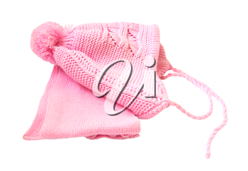 Pink winter hat and scarf