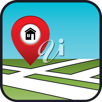 Street map icon with the pointer home. vector, gradient, EPS10