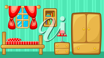 Preview bedroom with design elements. Vector illustration