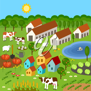 Big set of rural farmer elements. Fields, animals, plants. Subjects can be used for games. Vector illustration