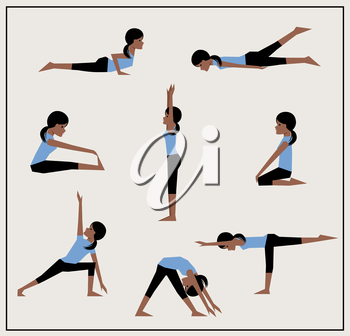 Set of asanas. African American girl does exercises. Vector illustration.