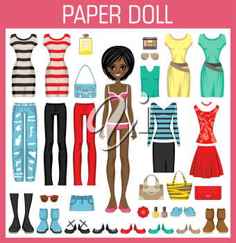 Paper doll with clothes. Vector illustration