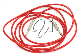 Electric guitar patch cable isolated on white
