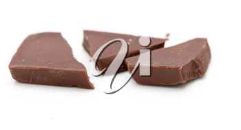 slice of chocolate on a white background