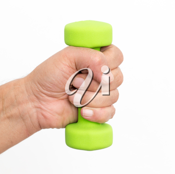 dumbbell in hand on a white background