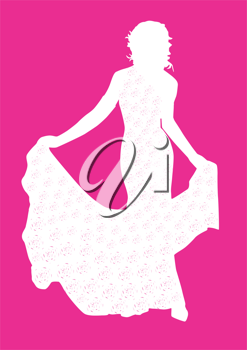 Royalty Free Clipart Image of a Bride on a Pink Background