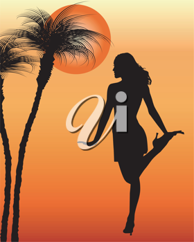 Royalty Free Clipart Image of a Woman at Sunset