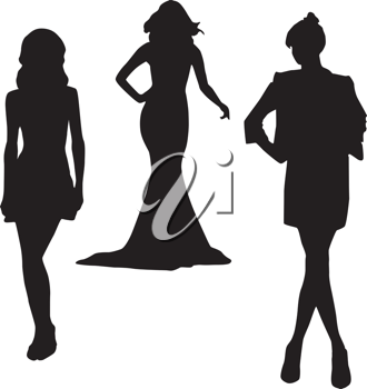 Royalty Free Clipart Image of Three Silhouettes of Women