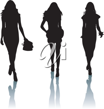 Royalty Free Clipart Image of Silhouettes of Young Women