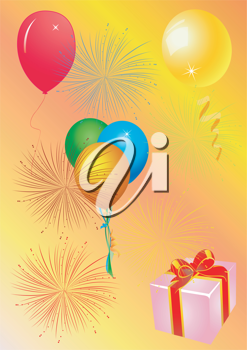 Royalty Free Clipart Image of a Firework and Balloon Background With a Gift in the Corner