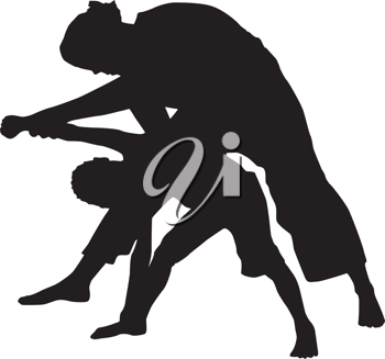 Royalty Free Clipart Image of a Woman and Child Doing Yoga