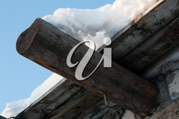 Royalty Free Photo of Snow on a Wooden Roof