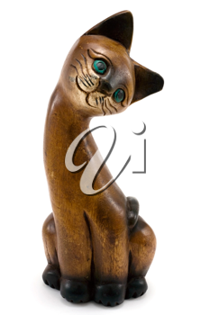 Royalty Free Photo of a Wooden Cat Statue