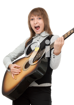 Royalty Free Photo of a Girl Playing the Guitar
