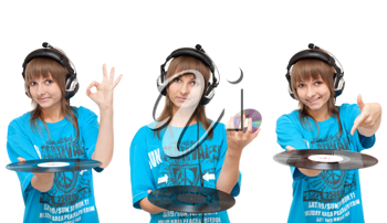 Royalty Free Photo of a Girl Holding Vinyl Records