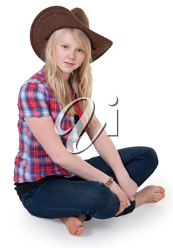 Royalty Free Photo of a Girl Wearing a Cowboy Hat