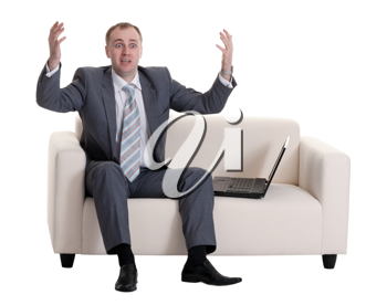 Royalty Free Photo of a Businessman With a Laptop