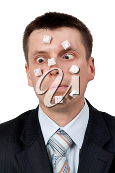 Royalty Free Photo of a Businessman With Computer Keys on His Face