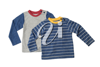 Two children's T-shirts with long sleeves. Isolate on white.