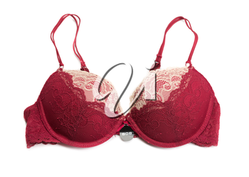 Red bra size 80B. Isolate on white.