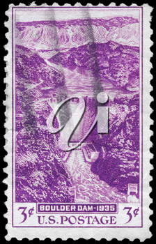 Royalty Free Photo of a 1935 US Stamp Showing the Boulder Dam