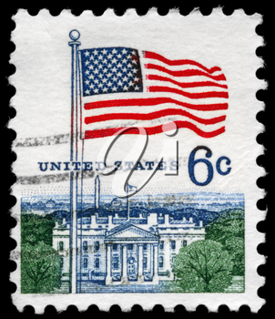 Royalty Free Photo of 1967 US Stamp hows the Flag and White House