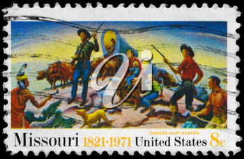 Royalty Free Photo of 1971 US Stamp Shows Independence and the Opening of the West by Thomas Hart Benton (1889-1975)