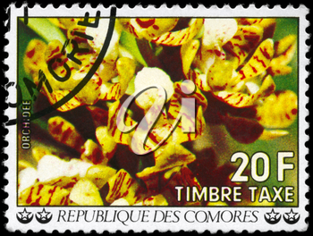 COMOROS - CIRCA 1977: A Stamp printed in COMOROS shows the image of a Orchids, series, circa 1977
