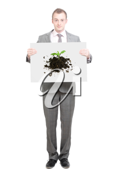 Royalty Free Photo of a Businessman Holding a Sign