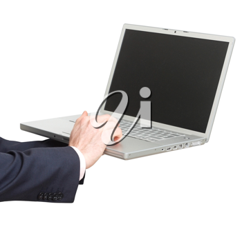 Royalty Free Photo of a Businessman Using a Laptop